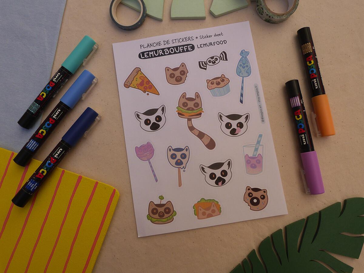 Sticker sheet A5 - LemurBouffe/LemurFood
