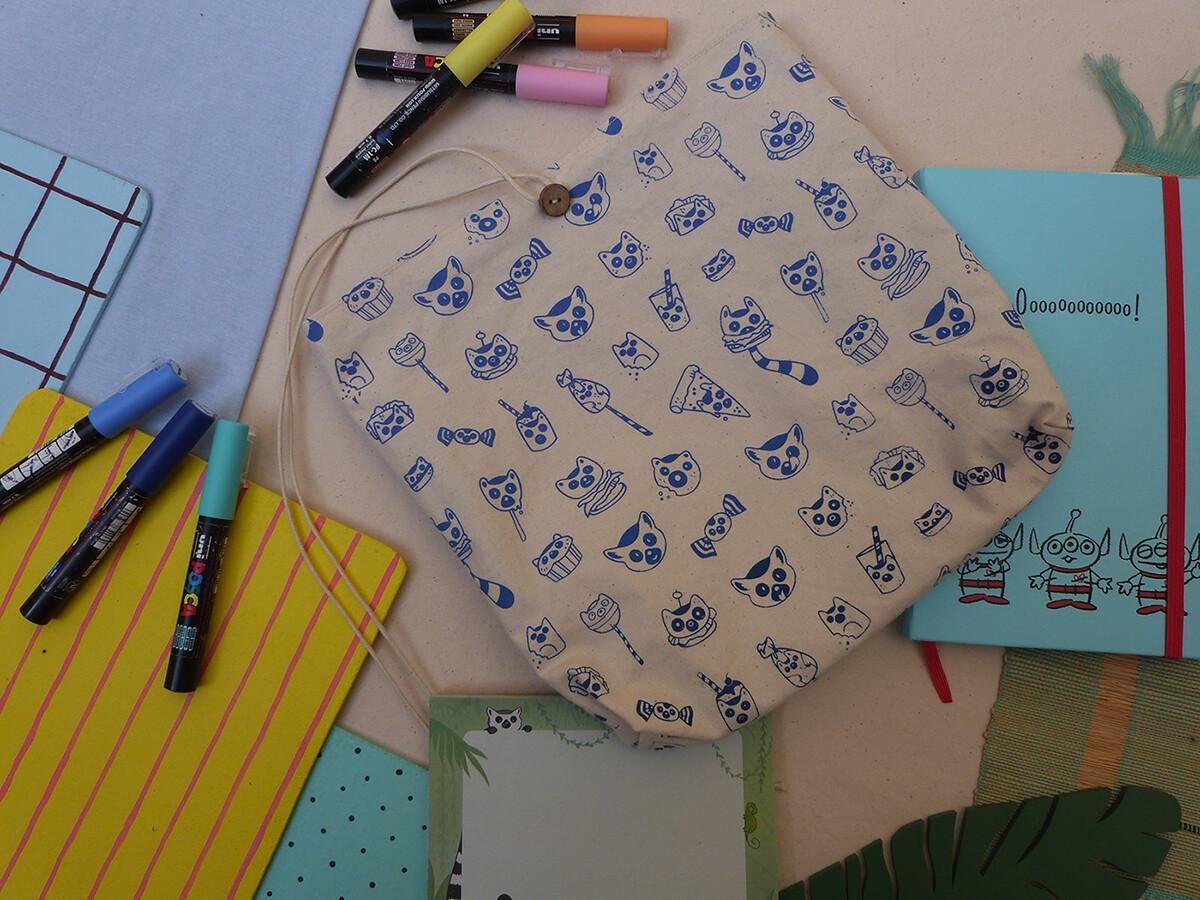Pochette sérigraphiée LemurBouffe - bleue foncée