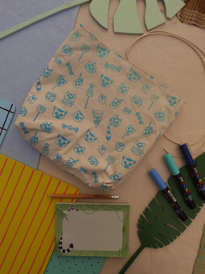 Pochette sérigraphiée LemurBouffe - turquoise