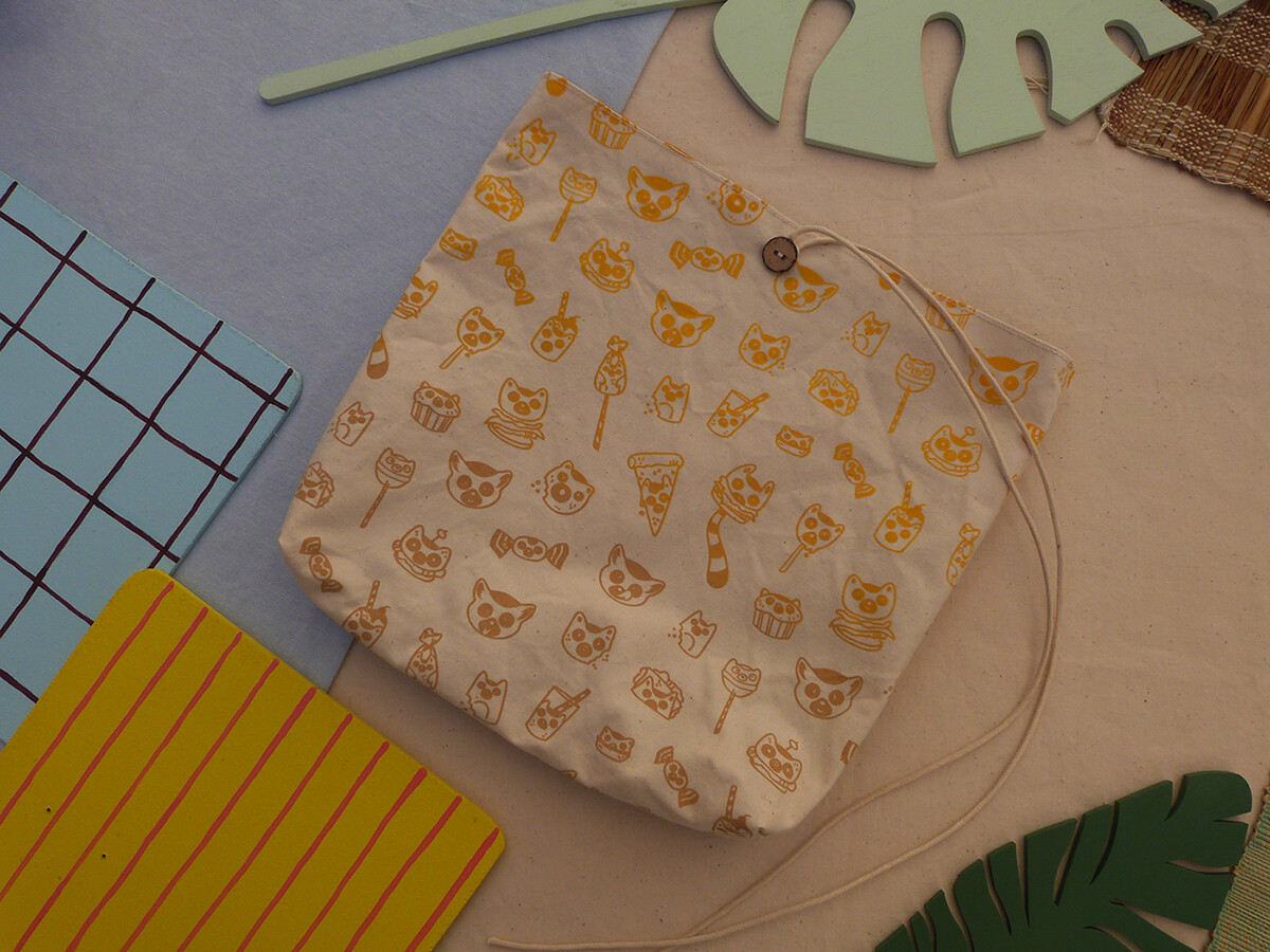 Pochette sérigraphiée LemurBouffe - jaune