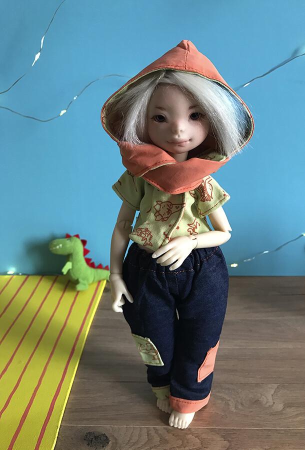 DinoFood outfit Orange Foncé/Dark Orange - Size Appi v2 (Dust of Dolls) - Hand screen printed