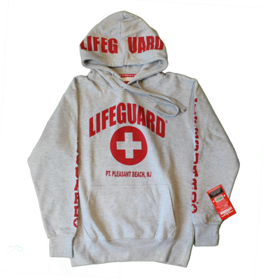 Adult Point Pleasant Beach Lifeguard Gray/Red Hoodie