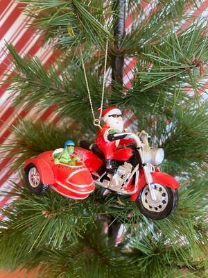 Santa and Turtle Biker Ornament
