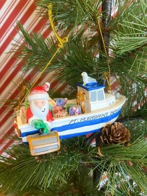 Santa Hauling Lobster Traps Ornament