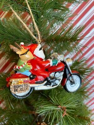 Santa on a Harley Ornament