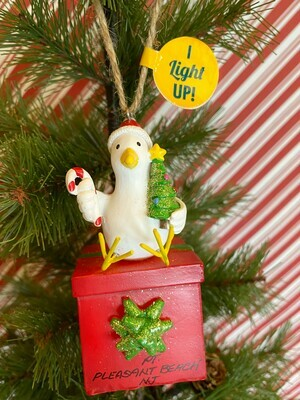 Seagull on Present Light-up Ornament