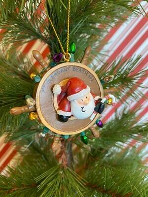 Santa in Ship's Wheel Ornament