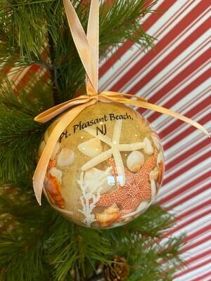 Beach Walk Shells Ball Ornament
