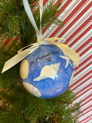 Blue Water Shells Ball Ornament