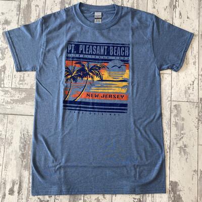 Adult Sunset Palm Tree T-Shirt