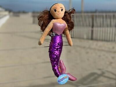 Sequin Mermaid Plush with Brown Hair
