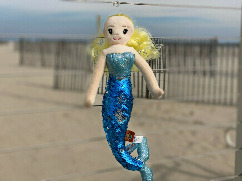 Sequin Mermaid Plush with Blonde Hair