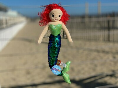 Sequin Mermaid Plush with Red Hair