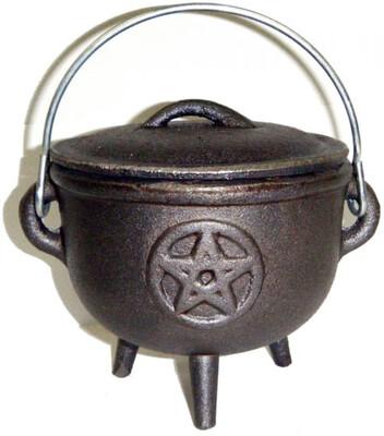 4.5 inch Cast Iron Cauldron with Lid, Pentagram