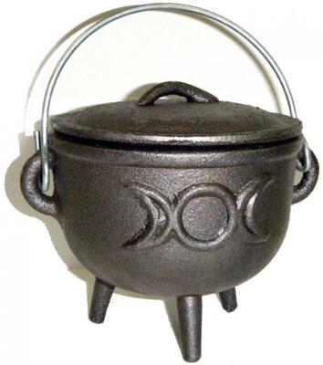 4.5 inch Cast Iron Cauldron with Lid, Moon