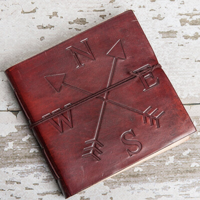 Directions Square Handmade Leather Journal (Brown)