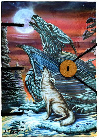 Handmade Journal: Dragon and Wolf
