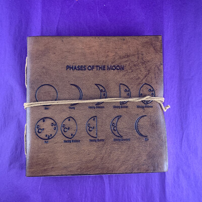 Square Moon Phases Embossed Leather Journal