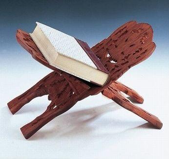 Hand Carved Wood Book Holder