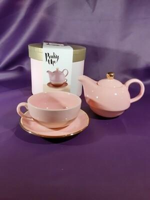 Addison Pink & Gold Teapot