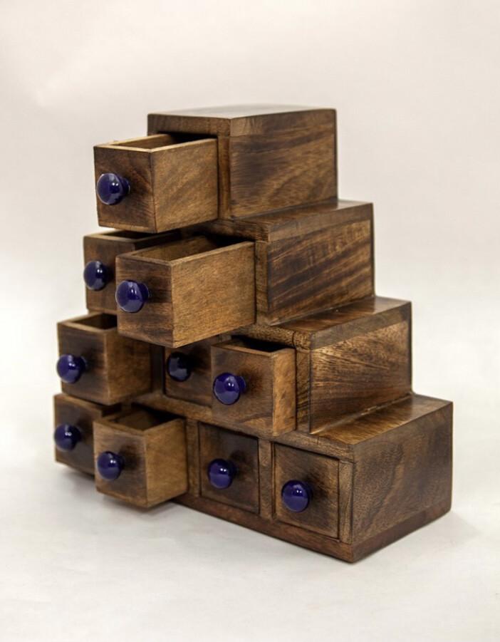 Ten Drawer Wood Chest W/ Ceramic Knobs