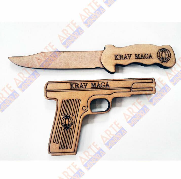 Kit Simulacro Pistola e Faca em MDF cortado a Laser