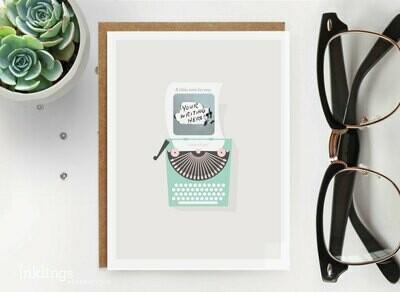 Vintage Typewriter Scratch-Off Card