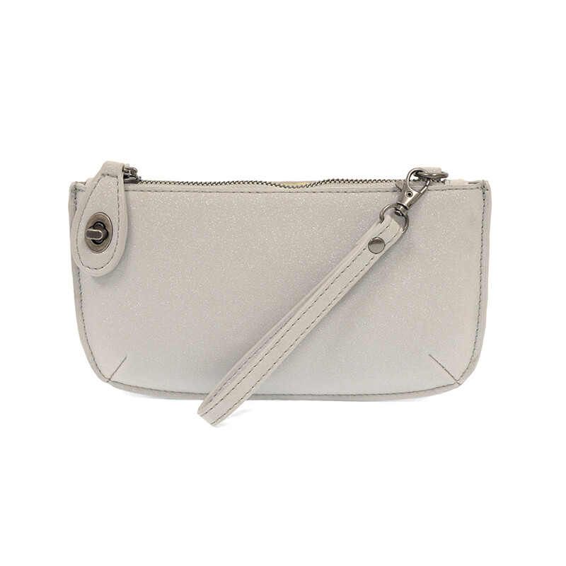 SIlver Sparkle Mini Crossbody Wristlet Clutch