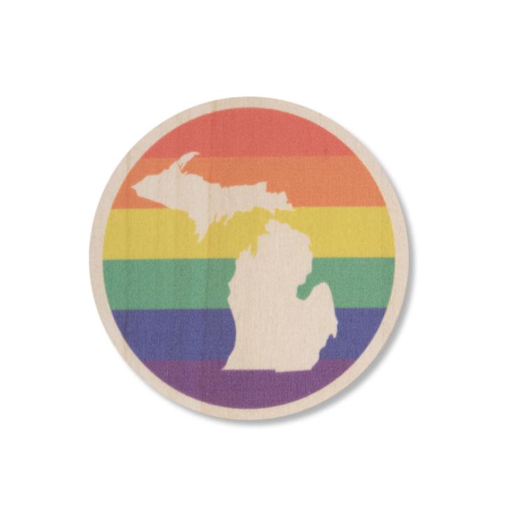 Rainbow Michigan Wood Sticker