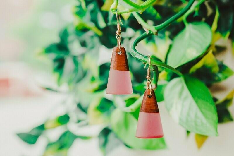 Rose Wood and Resin Earrings