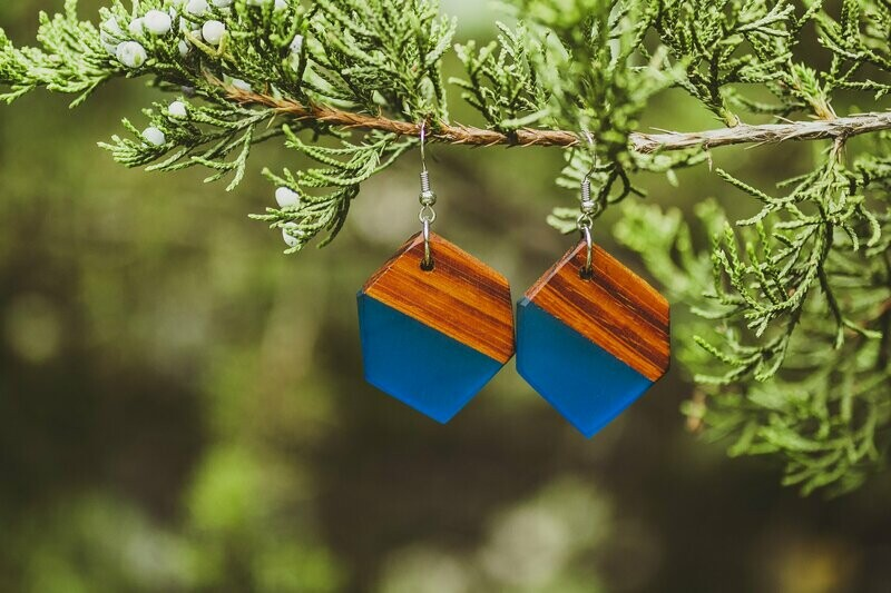 Geometric Wood and Blue Resin Earrings