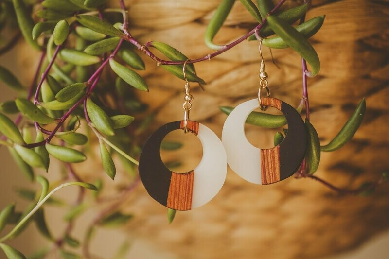 Vertical Striped Wood and Resin Earrings
