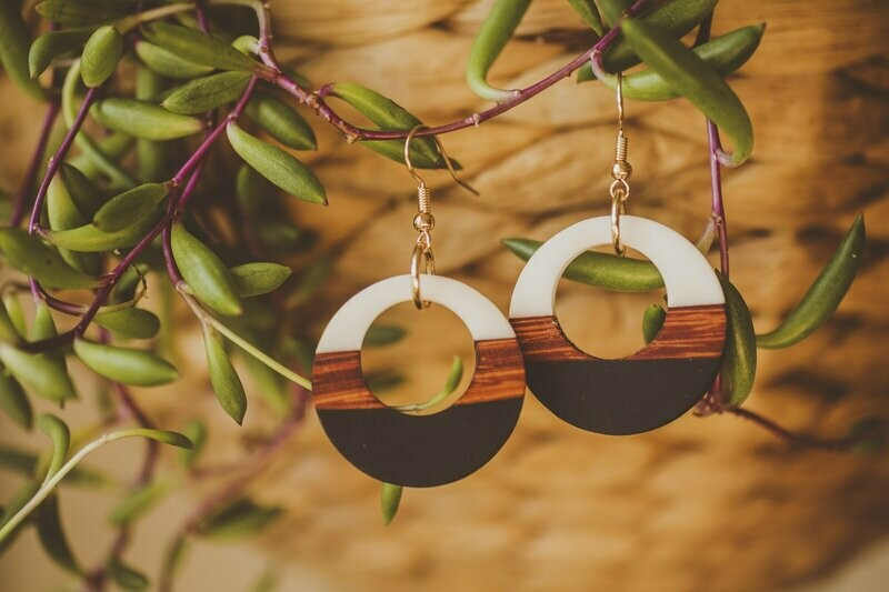 Horizontal Striped Wood and Resin Earrings