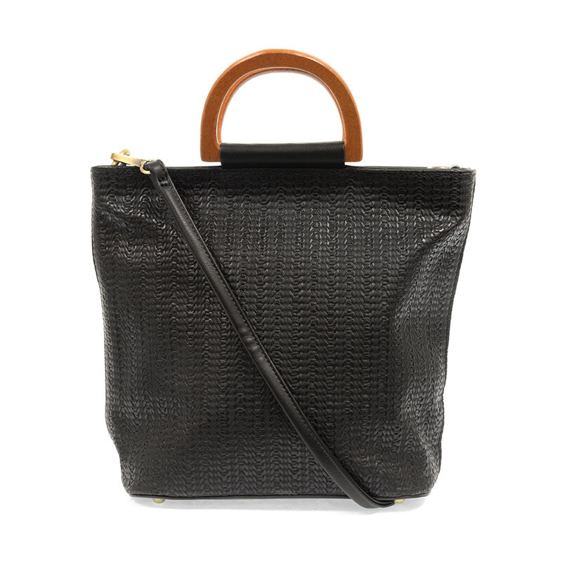 Wooden Handle Woven Tote