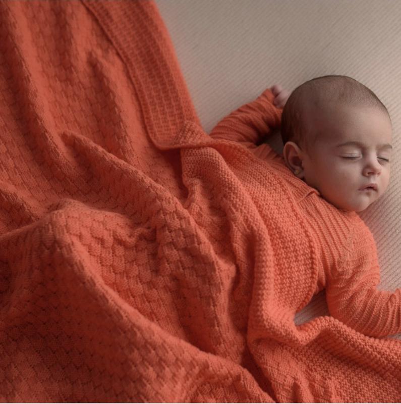 Organic Knit Blanket - Coral
