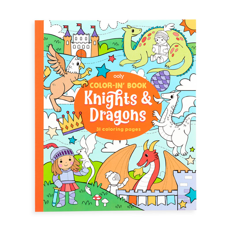 Color-in Book: Knights & Dragons