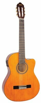 Valencia Series 100 4/4 Size Classical Cutaway Electric Acoustic Guitar Natural