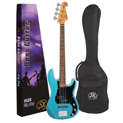 SX VEP62 Vintage Style Bass Guitar in Lake Placid Blue