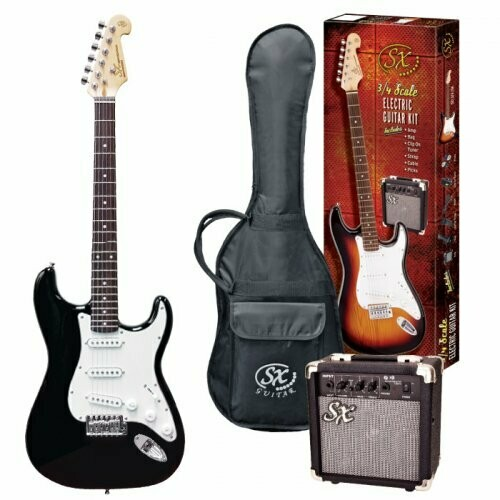 SX SE1SK34B SC STYLE 3/4 ELECTRIC GUITAR & AMP PACK BLACK