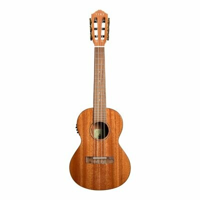 Tiki T6E-NGL Tenor 6 String Mahogany Solid Top Electric Ukulele with Soft Case (Natural Gloss)