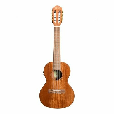 Tiki T8E/C-NGL Tenor 8 String Mahogany Solid Top Electric Ukulele with Hard Case (Natural Gloss)