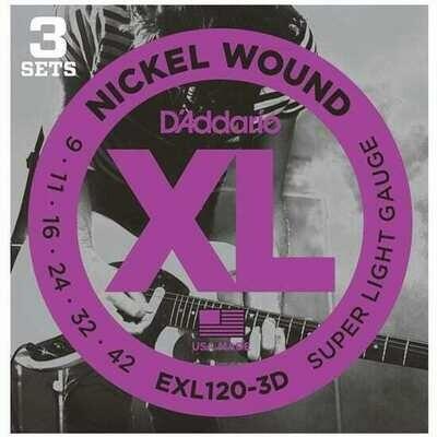 D'Addario XL Nickel Wound Electric Super Light 3 Pack 09-42