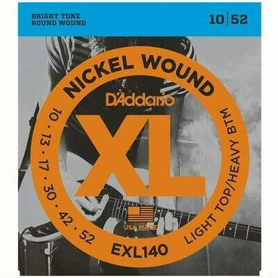 D'Addario XL Nickel Wound Electric Light Top / Heavy Bottom Set 10-52