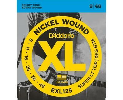 D'Addario XL Nickel Wound Electric Super Light Top / Regular Bottom Set  09-46