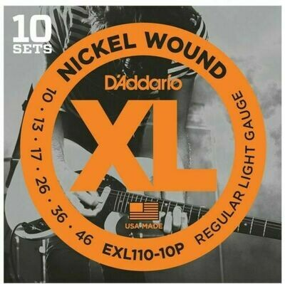 D'Addario XL Nickel Wound Electric Regular Light 10 Pack 10-46
