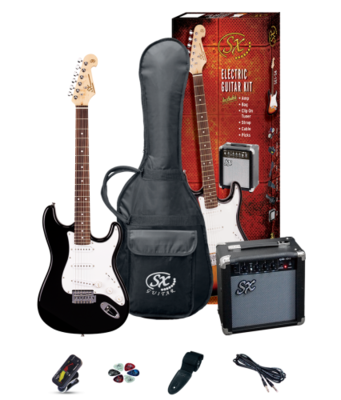 SX 4/4 Size Electric Guitar Pack Black