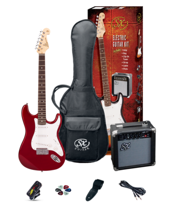 SX 4/4 Size Electric Guitar Pack Candy Apple Red