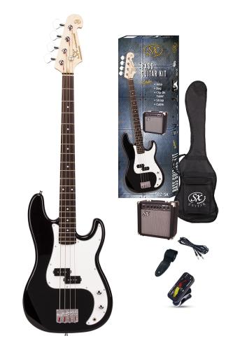 SX ELECTRIC BASS GUITAR PACK PB STYLE W/15W AMP BLACK
