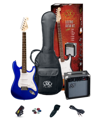 SX 4/4 Size Electric Guitar Pack Electric Blue