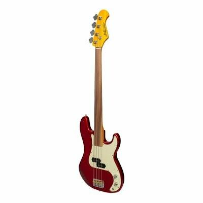 J&D Luthiers 4-String PB-Style Fretless Electric Bass Guitar (Crimson)